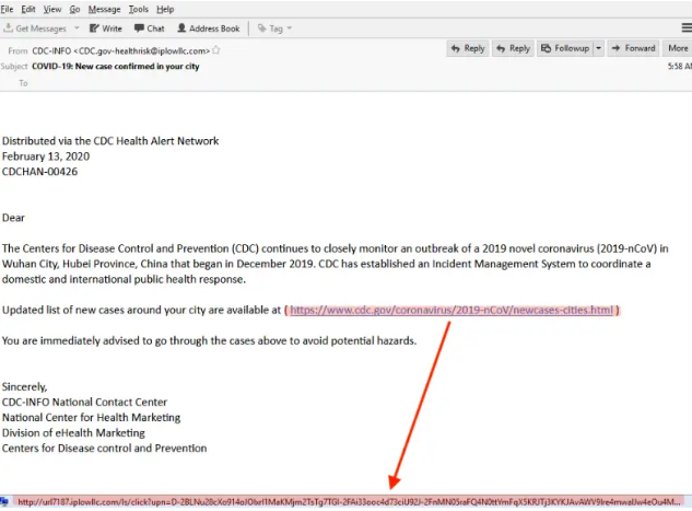 Warning - Spam Email claiming to be from the CDC